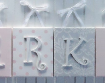 Wall Letters, Nursery Decor, Upholstered Letters, Nursery Letters, Gray and White Damask, White and Pink Polka Dots
