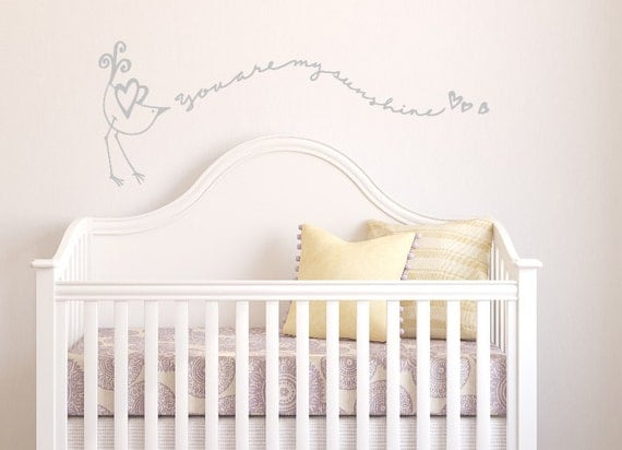 Little bird singing ' You are my Sunshine' decal. Hand Drawn and Designed Custom Vinyl Wall Decal for Nursery or Childs Bedroom.