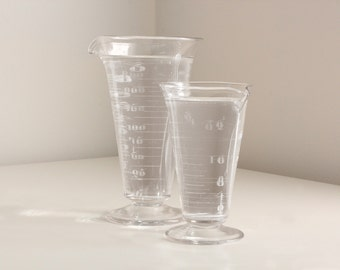 19th C. Pharmacy Apothecary Measuring Cups, Set of 2 Graduated Chemist Beakers