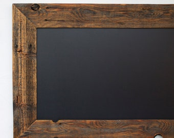 Wood Chalkboard with Ledge - Reclaimed Wood Frame - Kitchen Chalkboard - Rustic Modern Decor 28x20