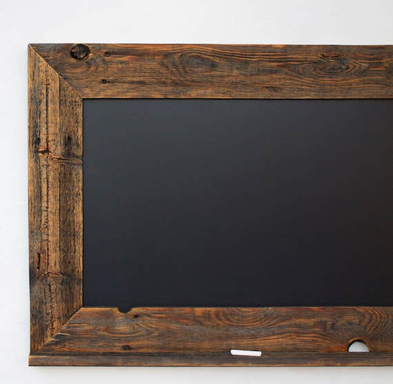 Wood Photo Frames : Wood Chalkboard with Ledge - Reclaimed Wood Frame - Kitchen Chalkboard ...