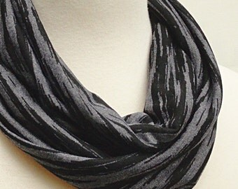 Striped Infinity Scarf Charcoal, Black  -   Easy Long Circle Scarf