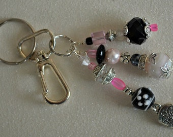 Pink and Black Beaded Key Chain with Sugar Skull Charm