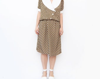 Vintage olive green dot dress / nautical sailor