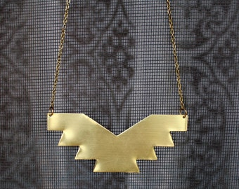 Gold Aztec Necklace- Geometric Necklace- Tribal Necklace- Brass Necklace- Southwestern Necklace