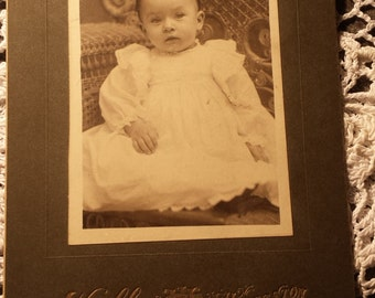Vintage 1800s Photograph Baby 2 1/2 X 3 3/4 inches