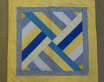 Yellow and Blue Pieced Table Topper