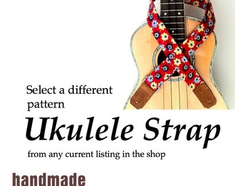 Choose a Different Pattern - Skinny Ukulele Strap with Black or Brown Leather Ends