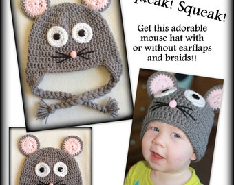 Mouse hat - any size - with or without earflaps and braids, baby, adult, preemie, child, 0-3 months, newborn, 3-6 months