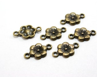 12 pcs Antique Bronze Plum Flower Connectors - 18mm long x 10mm wide