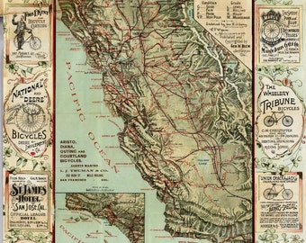 Vintage Poster - California Bicycle Map