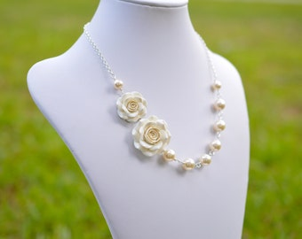 FREE EARRINGS Double Ivory Rose Necklace , Ivory Rose Asymmetrical necklace, Ivory Rose Flower Necklace