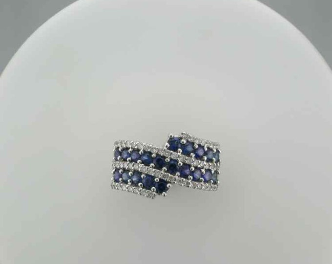 Estate Sapphire and Diamond Ring; Sapphire and Diamond Cocktail Ring; Sapphire Band Ring; Alternative Wedding Ring; Vintage Sapphire Ring