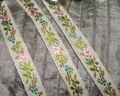 "1 Yd of Vintage Victorian French Floral And Vine Rayon Ribbon Trim 3/8"" Wide"