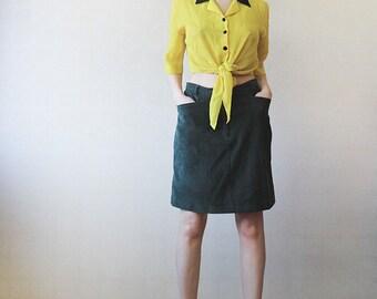 Forest green corduroy pencil knee length skirt