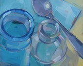 Bottles and Silver Spoon Original Oil Painting