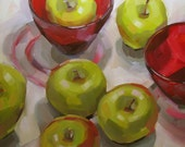 Green Apples, Red Crystal Bowls, Original Oil Painting