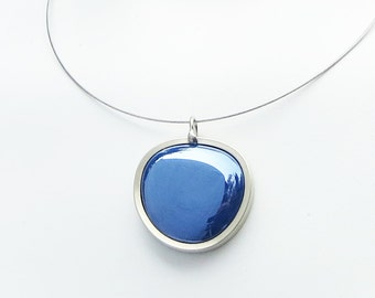Dark Blue Pendant Necklace, Statement Jewelry, Melted glass marble necklace, glass jewelry 050