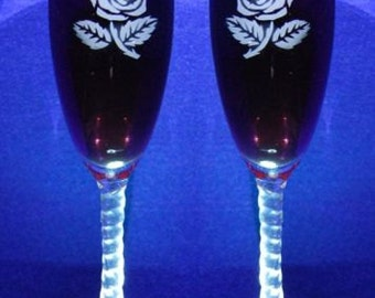 Personalized  Rose wedding toasting flute glasses, Name & Date added FREE
