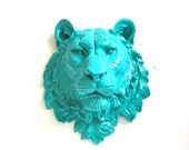 TEAL Faux Taxidermy Large Tiger Head Wall Mount Wall Hanging Home Decor Nursery Kids Room:  Tommy the Tiger in teal