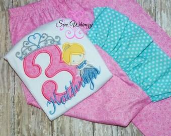Cinderella birthday shirt and matching pants- Cinderella birthday Shirt- Princess shirt and pants- Birthday Girl shirt- Ruffle pants- Girl