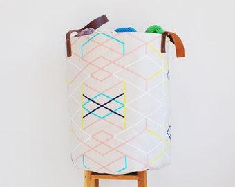 Geometric Storage Basket, Laundry Hamper, Laundry Basket, Toy Storage, Fabric Basket, Storage Bin, Toy Basket, Nursery Decor