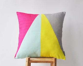 """Geometric Decorative Pillows, Modern Kids Pillow, Nursery Pillow, Throw Pillow, Triangle Pillow 16"""" x 16"""""""