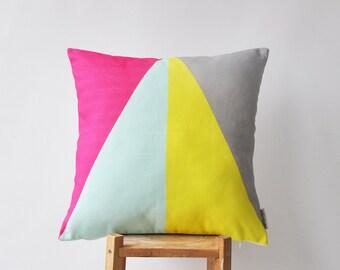 "Geometric Throw Pillows, Modern Kids Decorative Pillow, Nursery Pillow, Throw Pillow, Triangle Pillow 16"" x 16"""