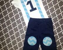 Baby Boy First Birthday Outfit - Boys Birthday Bodysuit with Knee Patch Pants - Cakesmash Baby Boy Navy Blue Chevron