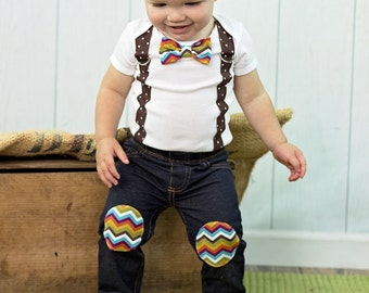 THANKSGIVING Baby Boy Bow Tie Bodysuit with Suspenders.  Harvest Plaid.  Harvest Chevron.  Fall Photo Prop, Family Pictures, Fall Holiday