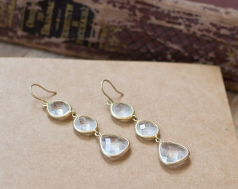 Bridal earrings gold - gold crystal earrings clear - bridal jewelry - wedding jewelry - dangle earrings