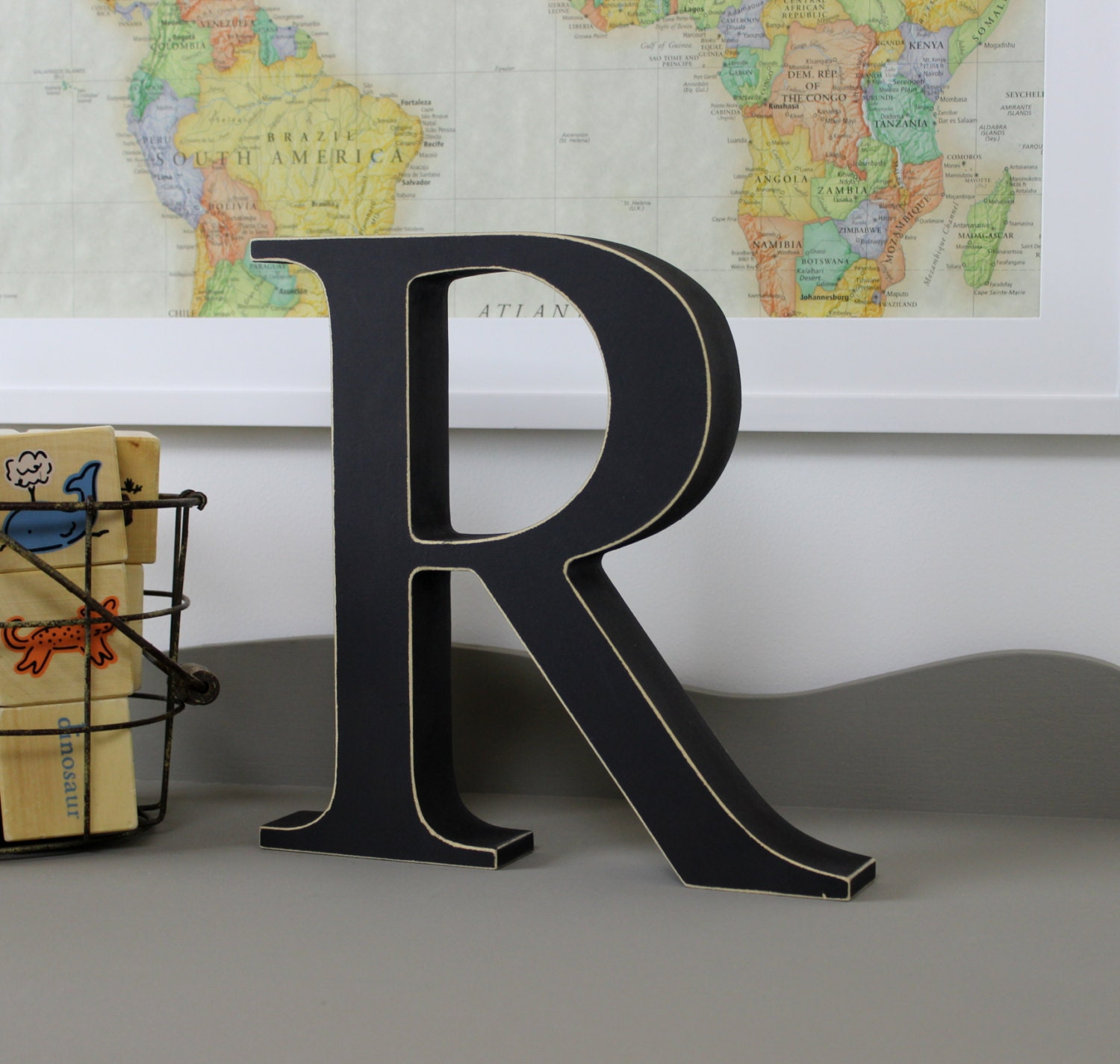 Free standing distressed wooden letters alphabet decor for Alphabet decoration