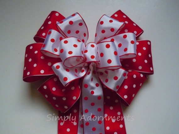 Red White Dots Wreath bow Polka Dots Birthday Party Decor Red White Wedding Pew Bow Polka Dots Theme Shower Party Decor Door Bow Gifts Bow
