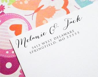 Custom Return Address Stamp, Self Inking Stamp, Wood Stamp, Wedding Present, Bridal Shower Gift, Housewarming Gift, Christmas Present (T58)