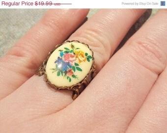 50% OFF SALE Vintage Rose Brass Ring, Handmade Jewelry