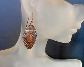 READY to SHIP - Etched Tribal Hand Forged Copper Dangle Earrings Tribal CPE658