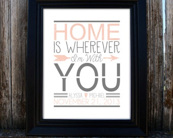 Personalized Printable Wedding Gift Print - Home is Wherever I'm With You - Song Lyrics - Edward Sharpe - Home Decor - PDF - Personalized