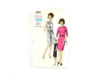 1960s Vintage Vogue Pattern 6814 Misses One Piece Dress size 12 bust 32