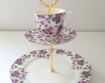 Reserved for Emily/Grace's Teaware China Handmade 2 Tier Dessert or Appetizer Stand Modern China Purple Blossom Tea Party