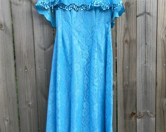 S M Small Medium Vintage Mike Benet Formals Blue Lace Sparkle Party Cocktail Special Occasion Long Floor Length Prom Gown Dress