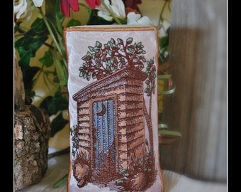 Rustic Country Outhouse With Crescent Moon on a Blue Door. Embroidered and Hand Colored Candle Wrap For LED Flameless Pillar Candles.