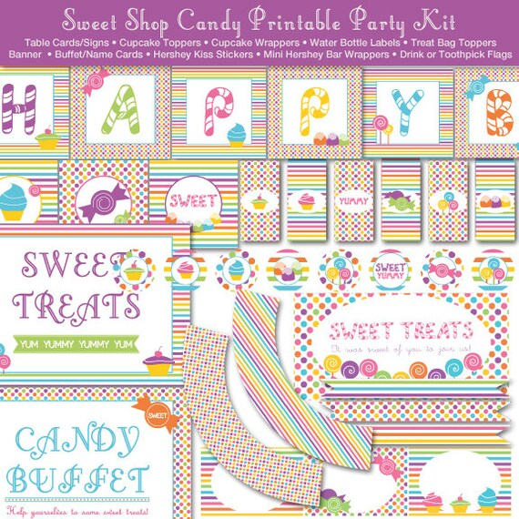 Sweet Shop Candy Land Printable Party Kit Instant Download