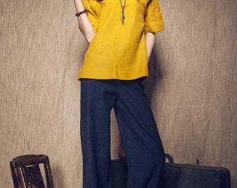 Linen Tunic Shirt in Yellow / Pleated Tshirt (Custom Made)
