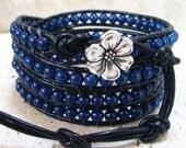 Lapis Lazuli Gemstone Beaded Leather 4-Wrap Bracelet