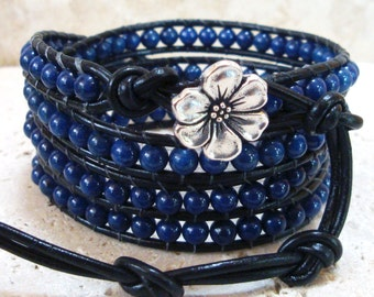 Lapis Lazuli Gemstone Beaded Leather 4-Wrap Bracelet