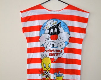 1986 Looney Toones Tweety Bird and Sylvester the Cat Oversized Tshirt