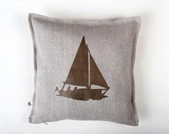 Hostess gift for beach house - sailor - Boat print on gray linen pillow cover hand painted - personalization available  0155
