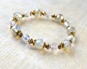Clear Crystal Bracelet, Opal Crystal Glass Beads, Delicate Bracelet, Bridesmaid Jewelry, Gold, Opal Wedding, Stack Bracelet, Teen Jewelry