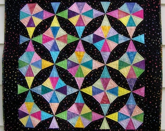 Baby Quilt, Crib Blanket or Cot Quilt, Kaleidoscope Star Quilt Textile Wall Hanging in Hand Dyed Pastels with Black Batik