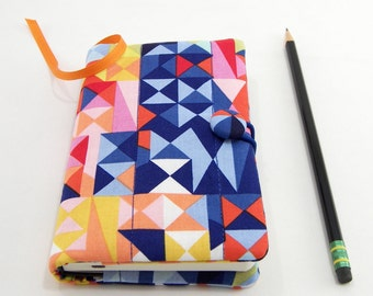 Geometric Pocket Journal Cover, Small Book Cover, Quilted Pocket Notebook 3.5 x 5.5 inch, Colorful Writing Journal